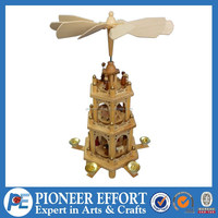 chrismtas wooden pyramid with windmill for holiday decoration 3 layers candle holder stand 5 arms
