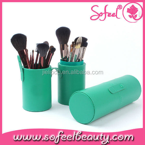 Sofeel Green Professional Cosmetic Cylinder Makeup Brush Case