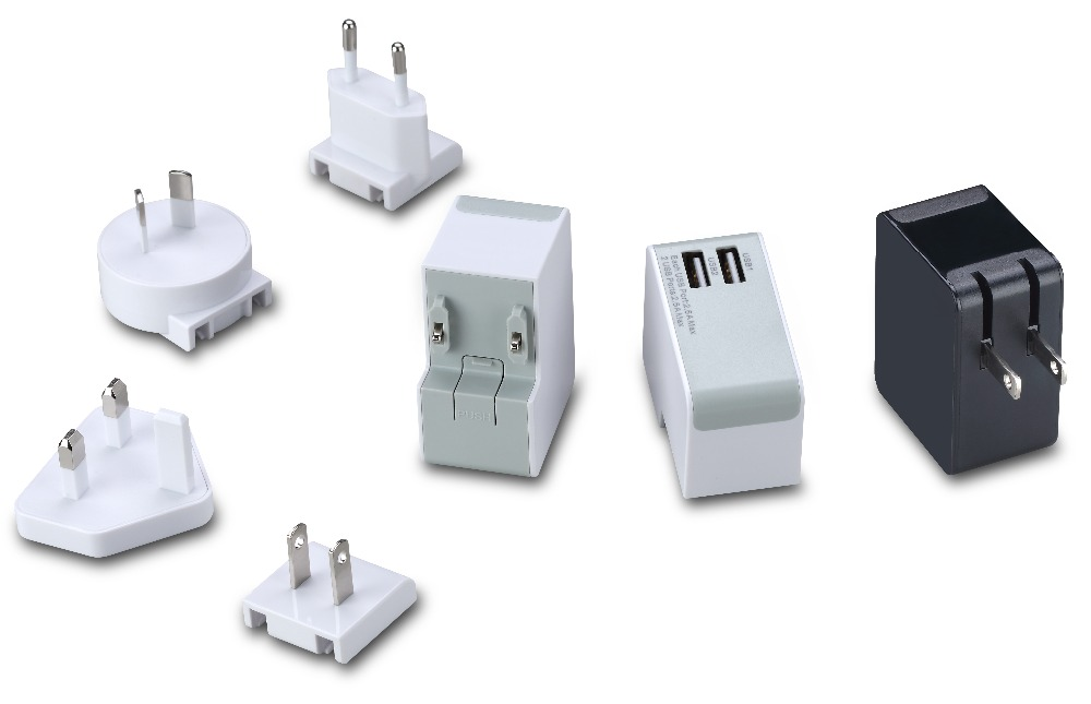 mobile accessory 5V 2.5A 2 ports wall charger for all mobile phones with universal plugs