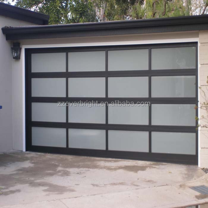 Industrial Aluminium Frame Frosted Glass Security Garage Door Price