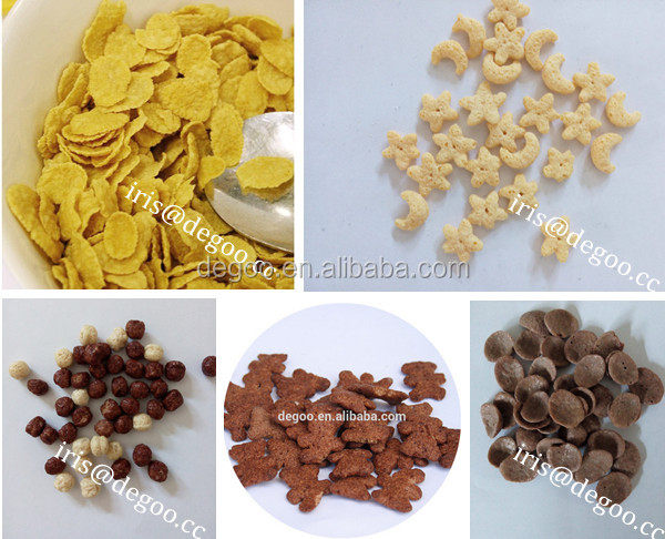 Choco curved coco pic chips corn flakes grain cereal breakfast maker extruder snacks machine line plant China supplier machine