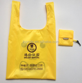 High quality nylon polyester folding tote bag into pouch