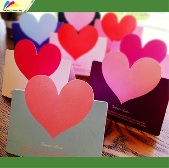 High quality factory price luxury artpaper custom heart shape handmade greeting card