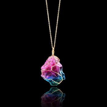 wholesale  gemstone pendant necklace jewelry colored natural stone necklace women