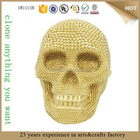 Spooky Gold Resin Skull Real Human
