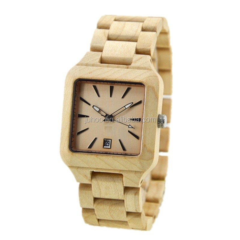2017 unique wrist watch hot sale maple wood watch square case brand watch