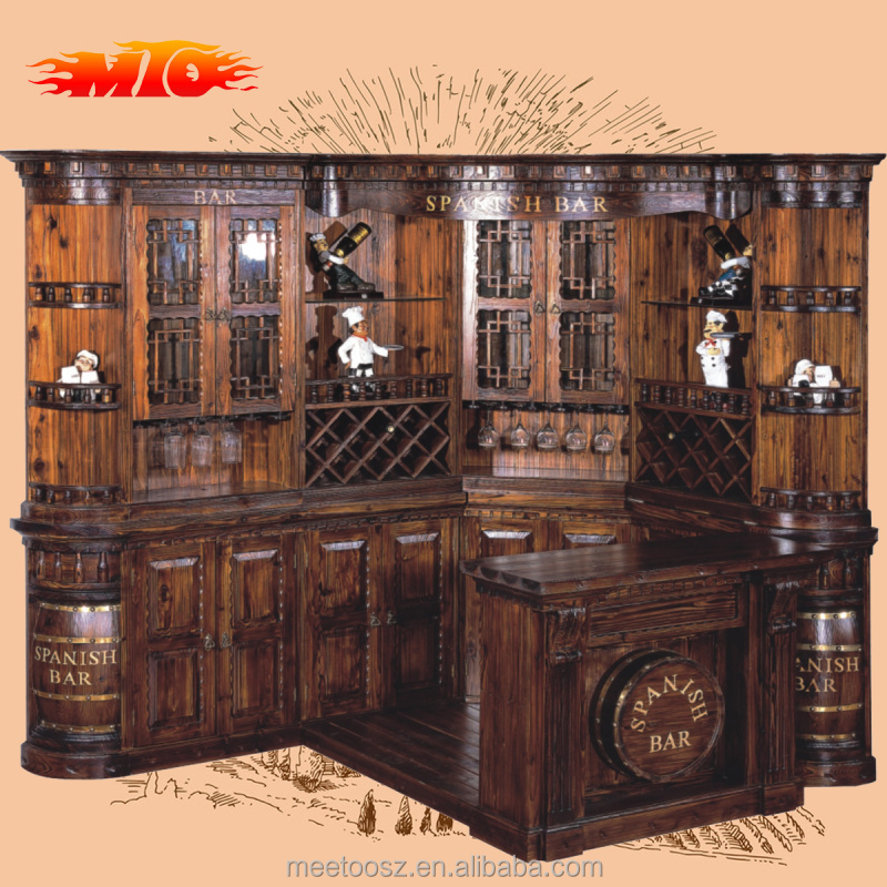 2015 spanish style wood bar counter can be customized with High technology support