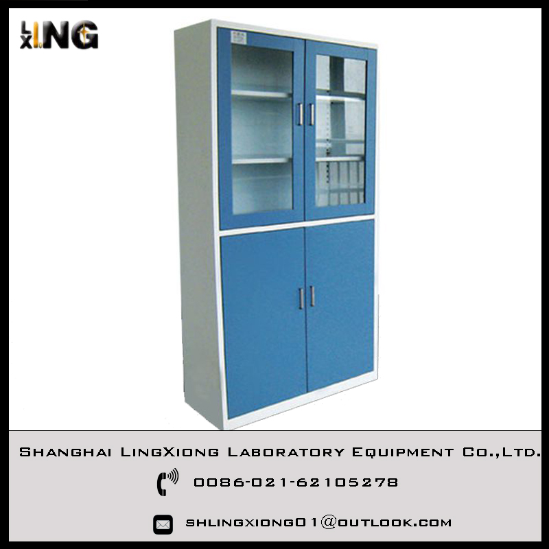 Lingxiong Laboratory Steel Glass Door Storage Cabinet With Good