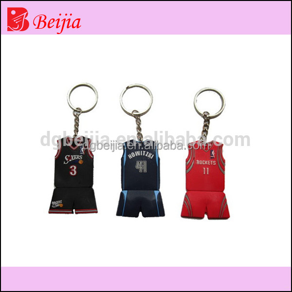 Custom basketball jersey 3D embossed soft pvc silicone keychain/rubber key chains/keyring for crazy fans as souvenirs