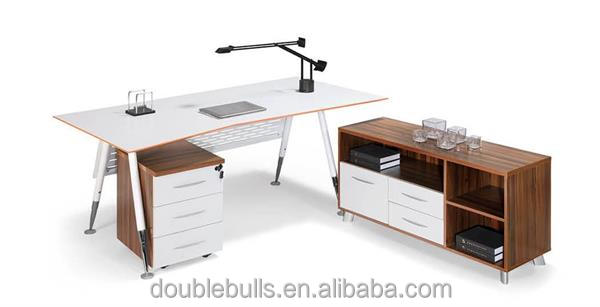 custom wooden office table desk with metal office furniture