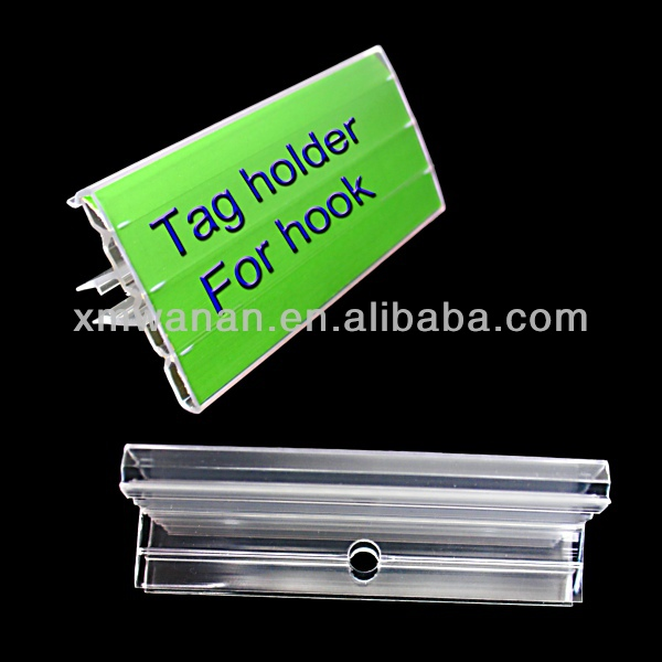 Supermarket shelf Clear PVC price tag holder with hole for hooks