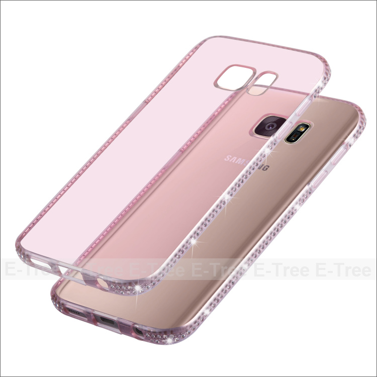 Ultra Thin Clear Bling Rhinestone diamond TPU Frame Phone Case For Samsung Galaxy s7