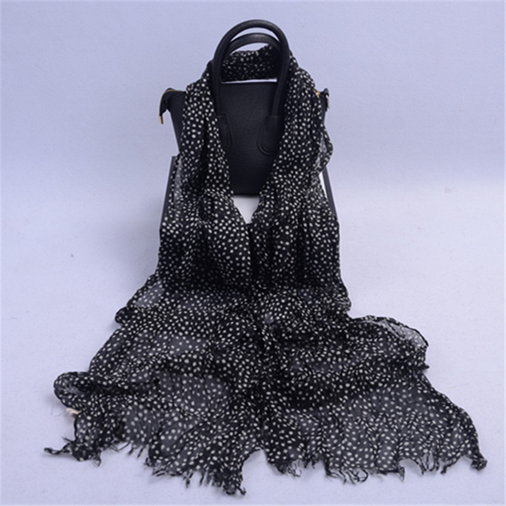Fashion Hot Sale Black Color and White Dot Printing Polyester Voile Scarf