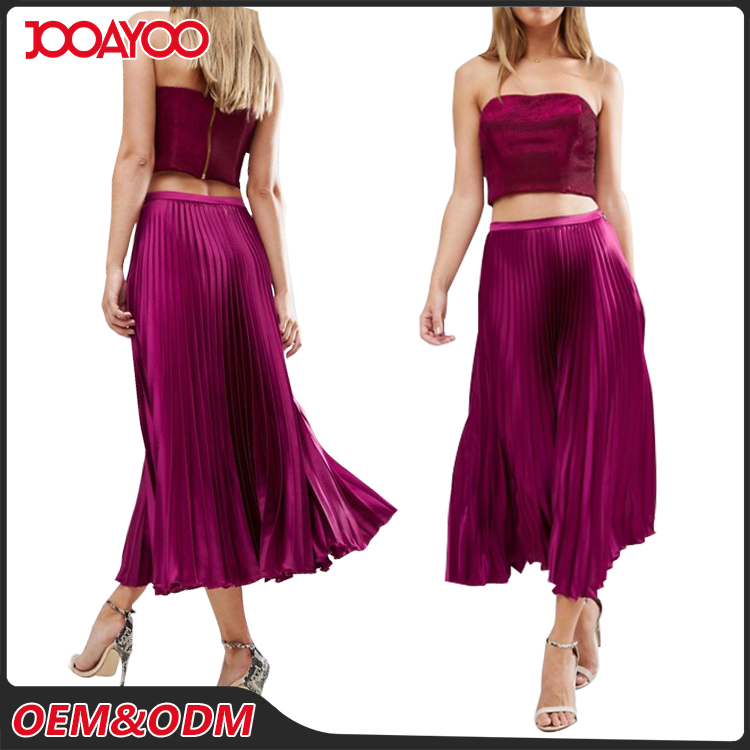 Customized New Style Printed Casual Fancy Long Skirts Lady Newly Midi Fashion Pleated Skirt