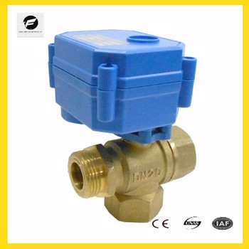 DN15 DN20 brass Motorized 3-way thread ball valve