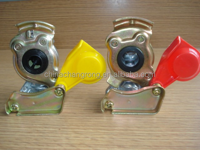 Truck trailer spare parts red yellow blue Trailer Palm Coupling Head with valve