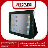 Black Premium Leather Case Hard Cover Pouch Flip Stand for The New iPad 3 rd Gen
