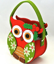 2017 new fashion hotsell cheap wholesale handmade kids design ornaments diy Christmas gift felt tote owl shape bag made in China