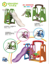 QQ hot selling new style Kids indoor Sliding Toys Children Kids Plastic Slides swing set with basketball standing