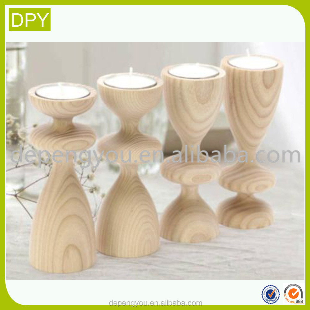 Natural Ash Hickory Wooden Candlestick Candle Holder Wood Pillar Candle Stand Tray For Home Wedding Decoration