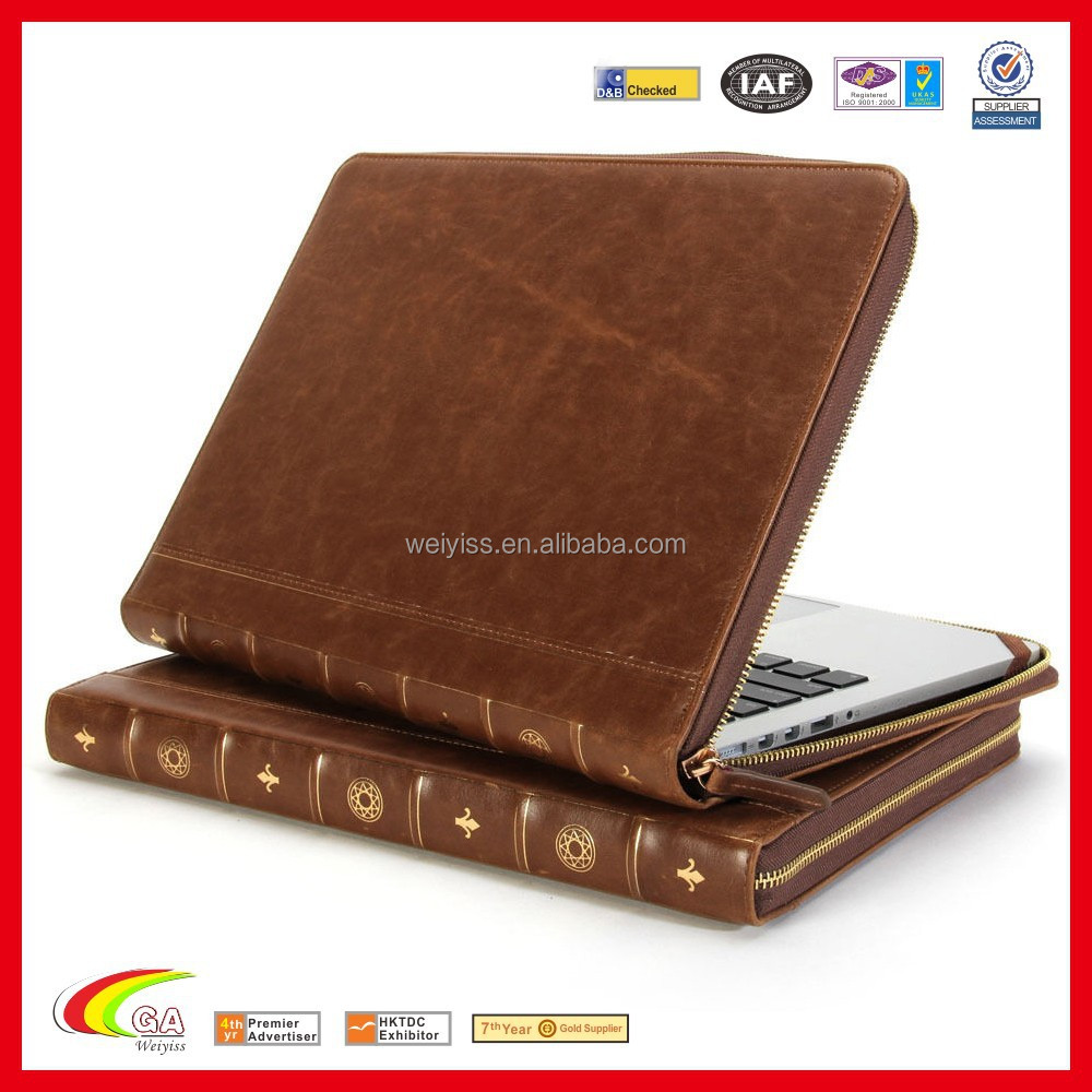 New Pierced Design Leahter Case for Macbook Pro, Protective File Holder with Zipper