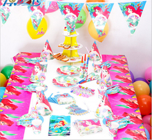 Trending hot food grade Little Mermaid theme Party Decorations Cartoon themed Birthday Supplies Party Set paper toys