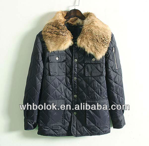 Mens big raccoon quilted casual man jacket navy blue winter blazer for man