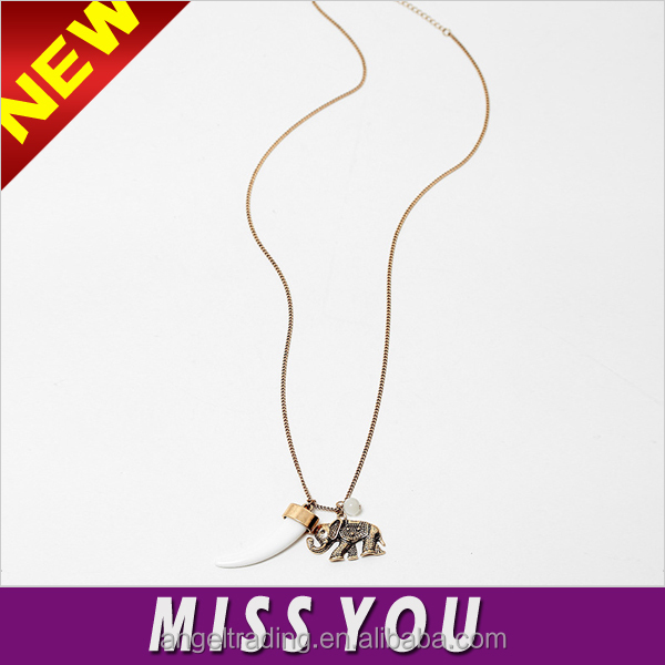European retro elephant ivory white high quality pearl pendant alloy necklace