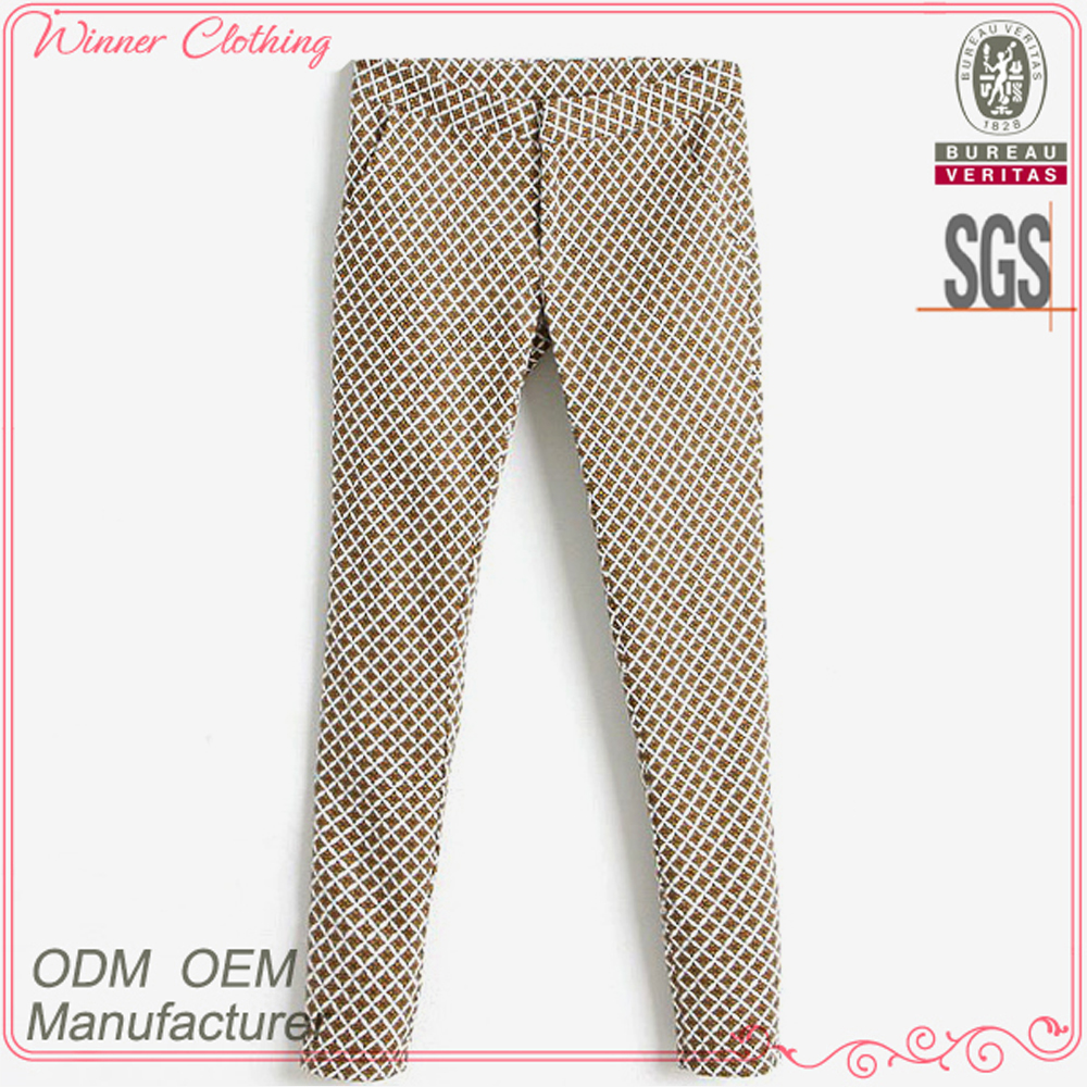 Women 2016 pants cotton polyester grid print long skinny trousers for ladies fashion autumn casual pants