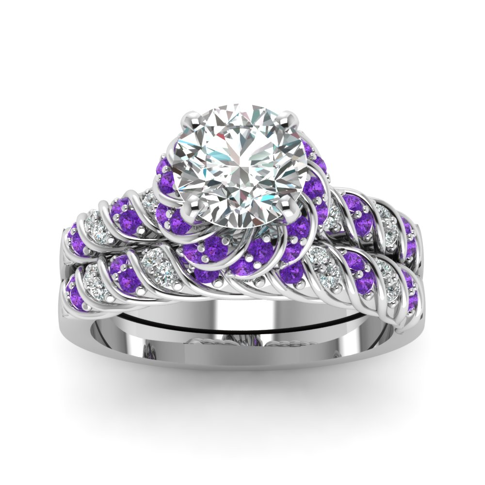 princess cut hola out flower ring wedding sets in