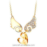 Angle wing crystal glowing girlfriend big heart pendant women gold jewelry
