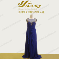 Embroidery dark blue floor-length beaded sleeveless patterns of lace evening dress