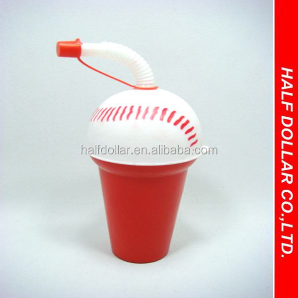 Baseball Shape Plastic Kid's Bottle with Lid and Straw