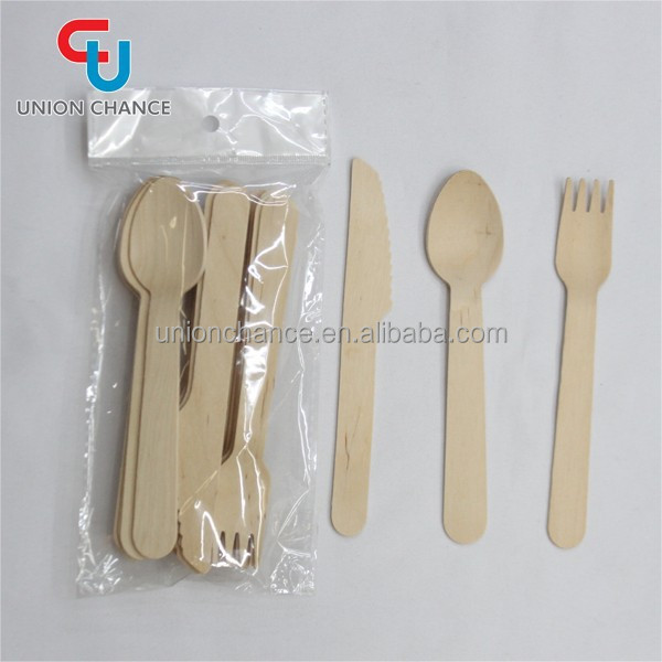Wooden Forks/Knives/Spoon Engraved Disposable Wooden Tableware Set Wholesale