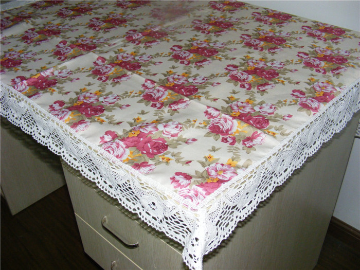 2014 pink rose flower print lace for edging cotton hot wholesale sequin tablecloths