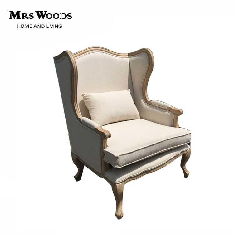 French classic wing back <strong>oak</strong> wood upholstered fabric armchair
