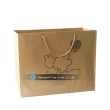 Wholesale Custom Logo Printed Grocery brown kraft shopping paper bag for food with CMYK printing