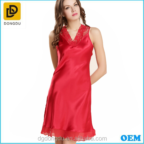 Roya Red Luxury Short Satin Silk Women Robe /Sexy Elegant Silk Nightgown