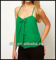 2013 ladies cami tops latest design for girls ladies blank green tank top with bow