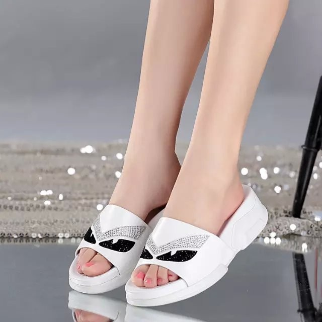 wholesale first class lambskin genuine leather women summer slipper in cheap price