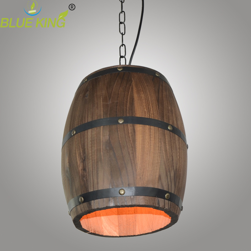 Retro cask creative personality living room bedroom loft pendant lamp restaurant Bar Cafe meals wooden pendant light
