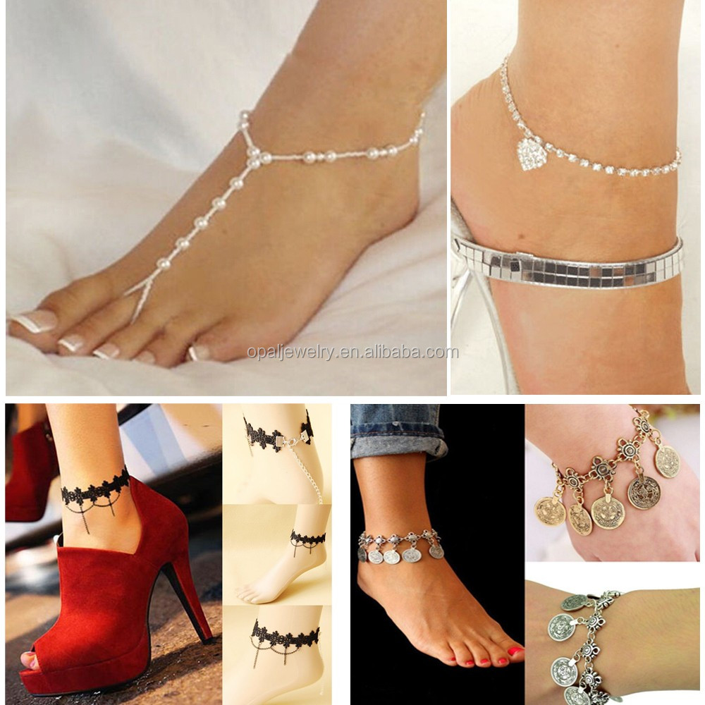 Bridal Jewelry Pearl Barefoot Foot Ankle Chain pearl ring designs toe rings adjustable