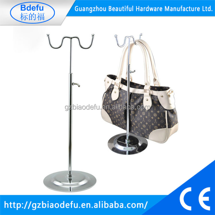 NEW ADJUSTABLE HANDBAG BAG DISPLAY STAND SCARF HAT CHROME RETAIL SHOP 2 HOOKS