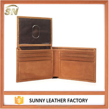 Customer logo Mens Vintage Trifold Leather wallet with ID window flap