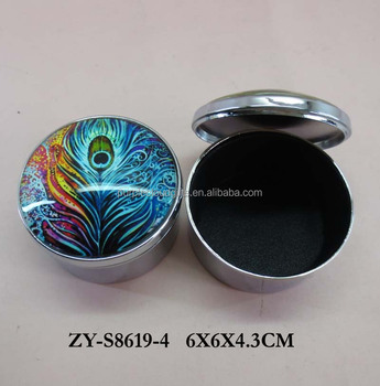 wholesale round peacock feather silver glass metal trinket jewelry box