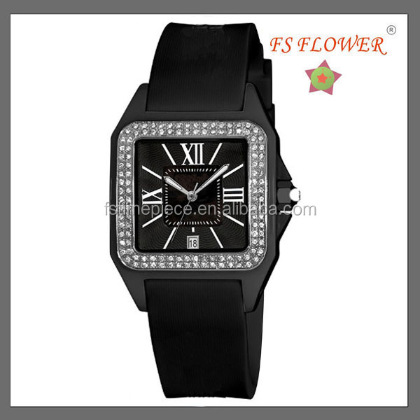 2014 Ladies Vogue Square Watches Case Black Silicone Band Japan Miyota Movement Quartz Watches