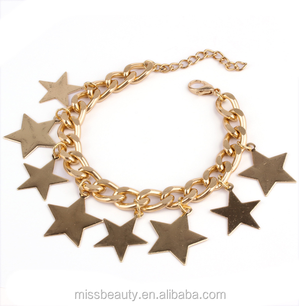Bib Chunky Golden Metal Bracelet Colares Bijuterias With Star