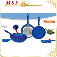 forged aluminum imitation non-stick blue stone coating fry pan inside and outside