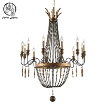 2017 Selling French Country Old Wood Beaded Chandelier Old Style Iron Pendant Light