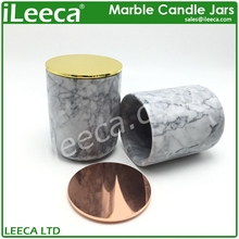 Unique marble stone candle jars with decorative lids